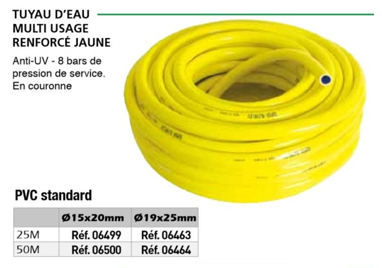 Tuyau d 39 eau multi usage renforc 25m diam15x20mm ref for Tuyau eau exterieur